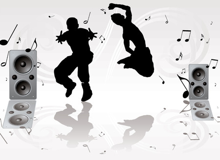tweeter: couple of youths dancing against a silver gray background Illustration