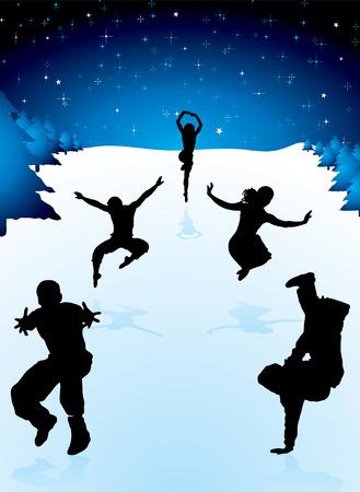 snow drift: five people partying in the snow fields under a crisp winter sky