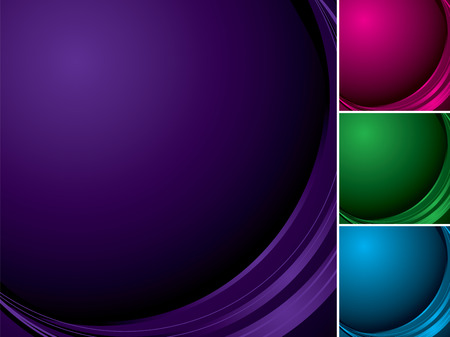 flowing abstract background in four different colors with copy space