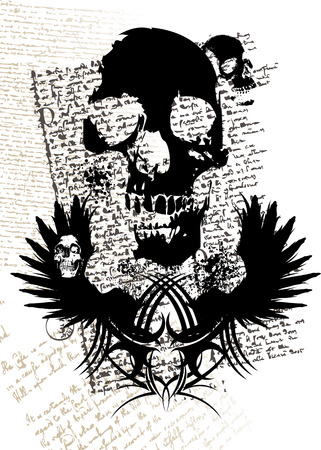 gothic style illustration with a skull and old fashioned text