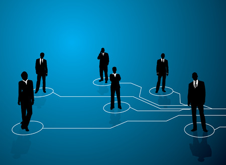 Business concept image showing links between people with a blue backround Vector
