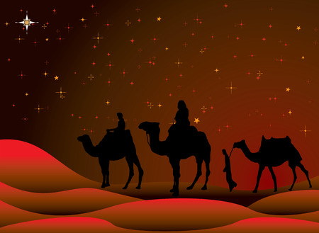 three wise men: traditional christmas scene with camels and a starry sky