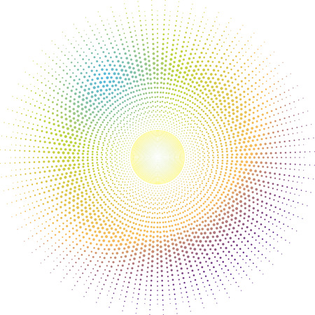 inca inspired sun design in rainbow colours with a circular design