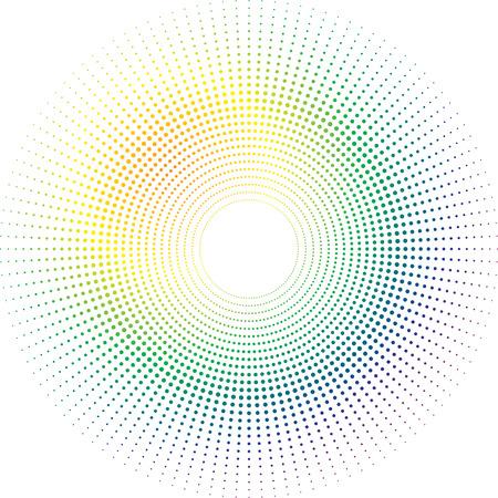 radiating: Ilustrado arco iris de sol hecha de un dise�o circular a cabo radiante  Vectores