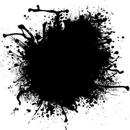 room for your text: Illustrated ink splat in mono black and white with room for your own text