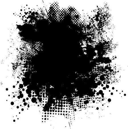 Illustrated black and white ink splat with room for your own text Stock Vector - 2390153