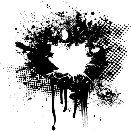 halftone and ink splat abstract image with room for your own text Illustration
