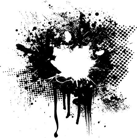 ink splat: media tinta y s�mbolo de imagen abstracta con espacio para su propio texto Vectores