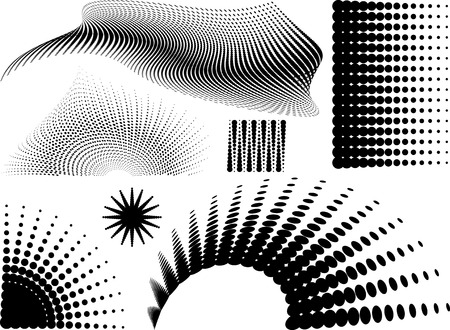 Collection of halftone elements in black and white Vector