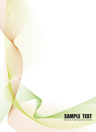 Illustrated flowing lines in natural green tones with copy space Vector