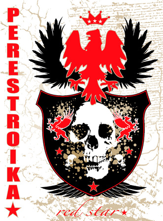 Illustrated russian style shield and background with skull and wings
