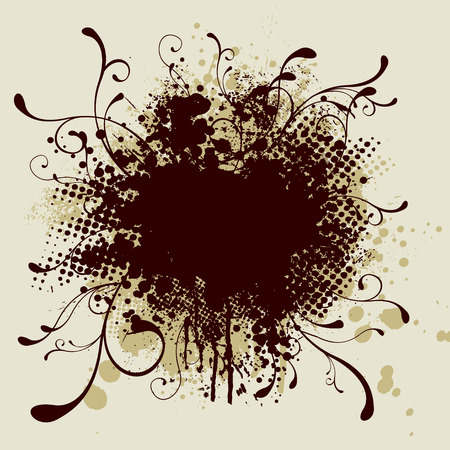Illustrated abstract image with ink and paint splats