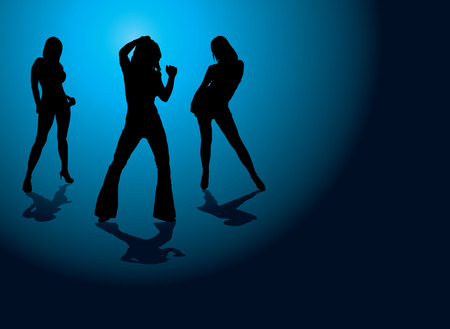 stance: Sexy illustration of three dancing women on a blue and black background