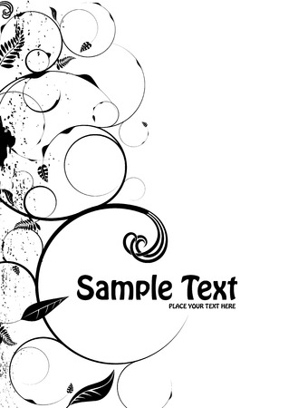 Floral inspired background in stark black and white with room for your own text Illustration