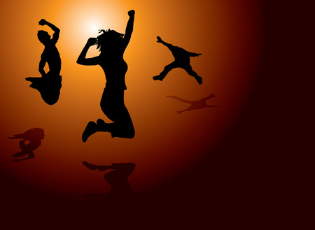 clowning: People jumping for joy on a warm sun setting background