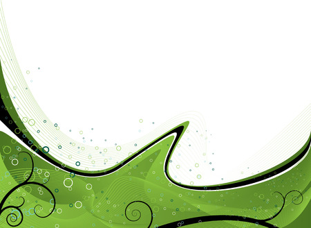 leaving: Abstract flowing design in green leaving room for your own text