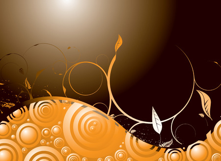 Orange and black floral inspired background with room for your own text Illustration
