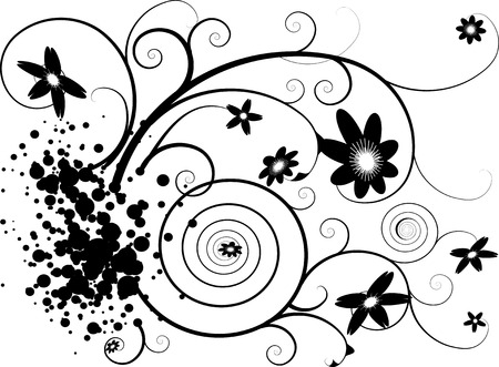 Abstract grunge floral design in black and white Stock Vector - 2465834