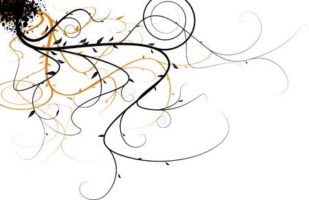 Black and orange flowing floral design that would make an ideal background Illustration