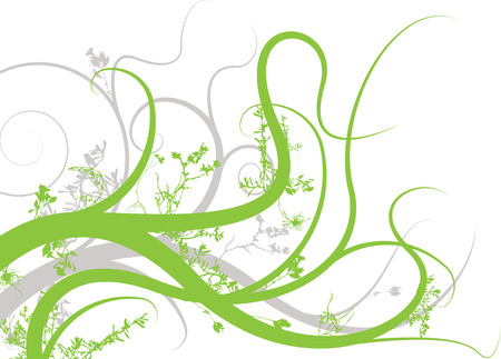 floral inspired background image in green and gray Vector