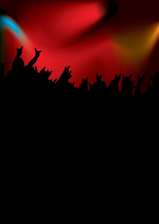 rock concert in many colours back lit with the crown silhouetted Vector