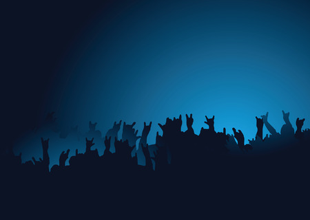 Hands raised at a rock concert with the crown back lit in blue Ilustrace