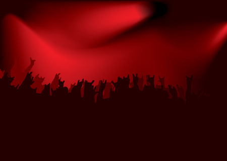 Rock concert crowd with stadium lighting in red and black Vector