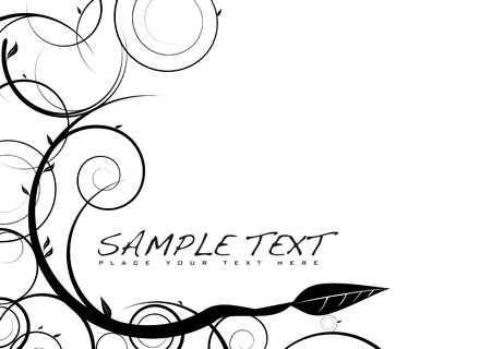 Floral inspired black and white image with copy space Illustration
