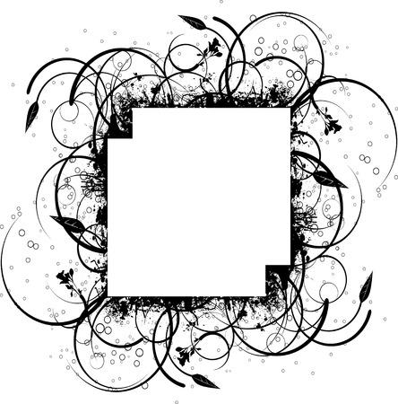 ink splat: Resumen s�mbolo floral de tinta frontera dise�o en blanco y negro  Vectores