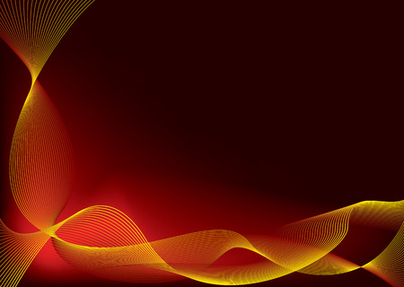 Red and yellow flowing background design with copy space Vector