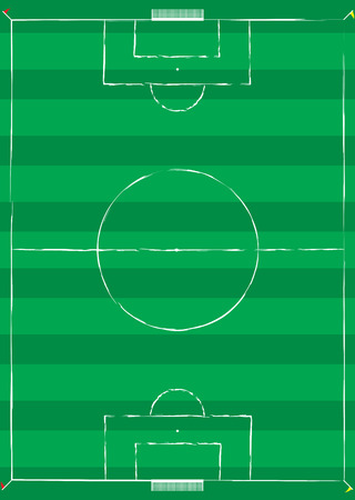Football pitch with white lines and corner flags Vector