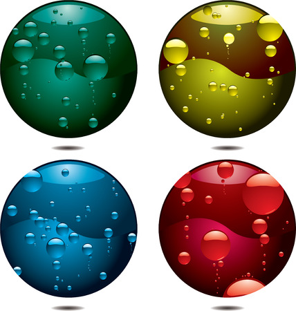 Four buttons with different coloured bubbles all with drop shadows