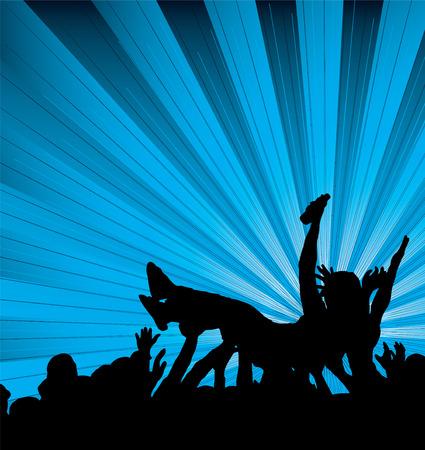 fondo luminoso: Multitud de personas que practica surf en un concierto con un fondo negro y azul