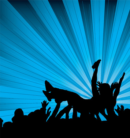 lift and carry: people crowd surfing at a concert with a blue and black background
