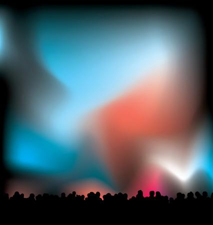 backlit: Concert licht met de menigte in zwart silhouet met nachten hemel Stock Illustratie