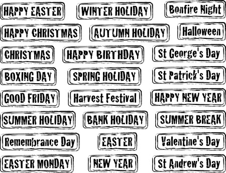 Collection of holiday dates and day in stamp form Vector