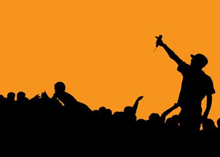 航空ショー: オレンジ色の背景に、群衆に話している歌手とロックのコンサート