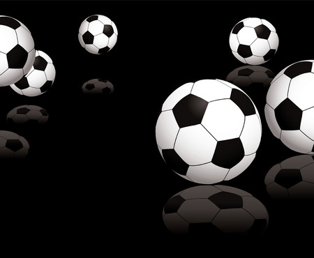 kickoff: Collection of footballs on a black reflective background