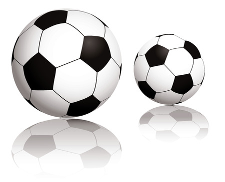 Illustration of two balls with reflection on a white background