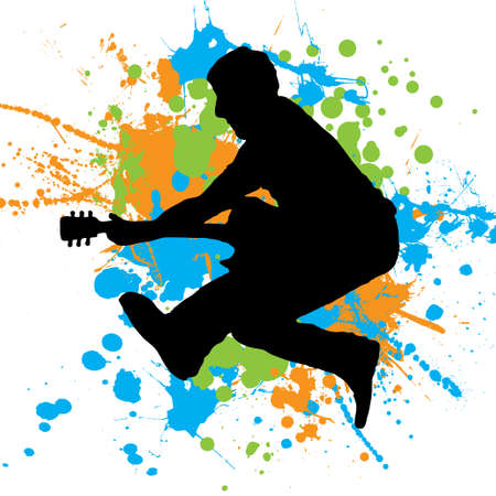 Guitarist jumping in the air with paint splats as a background