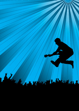 hand beats: guitarist jumping into a crowd at a concert with a blue background Illustration