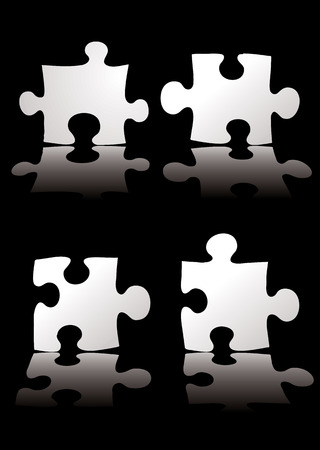 four piece puzzle black background with a shadow Vector