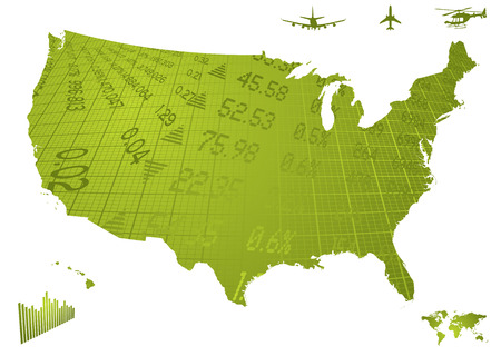 Illustration of north america in green with financial figures Vector