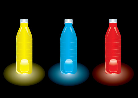 Three bottles of different coloured juice set against a black background Vector