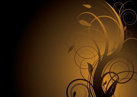 Abstract floral background in gold and black with copy space Stock Vector - 2603428