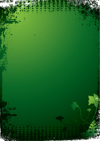 Green and black floral gothic background with copy space Vector