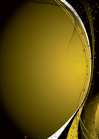 Golden abstract background with a flowing design and bubbles Vector