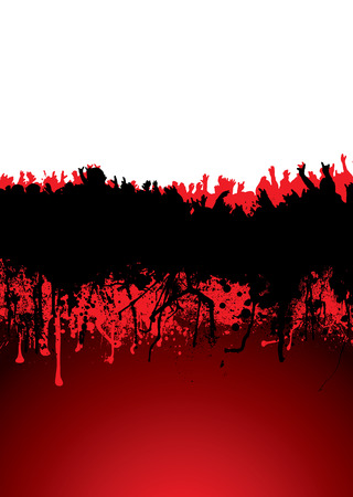 hand beats: Music inspired crowd scene with blood dribble ideal background