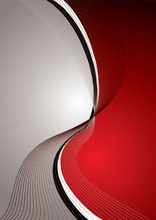 Abstract red and silver background with flowing lines and copy space