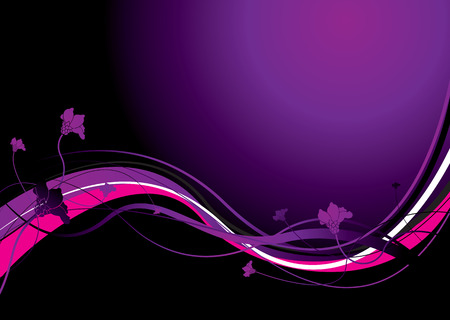 inspired: Flowing floral inspired purple background with copy space Illustration